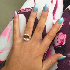 Jewelry - Morganite 11x9 cushion halo diamond solitaire